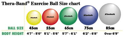 TheraBand Exercise Ball Size Chart